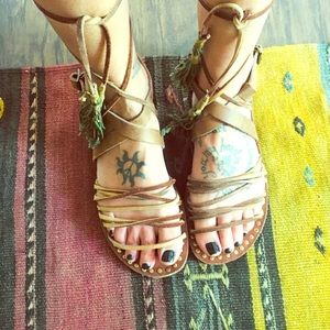 Free people tie up bohemian leather sandals